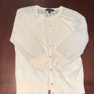 Ann Taylor cream button up lace sleeve cardigan